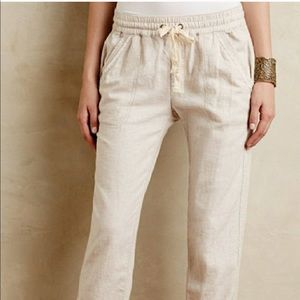 Anthropologie Hei Hei Lace Cropped Linen Pants